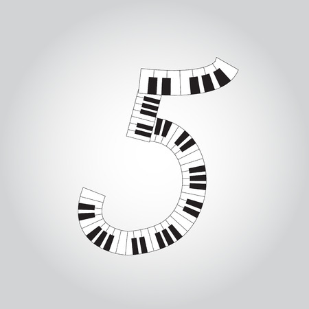 Abstract vector number four made from piano - numbers set