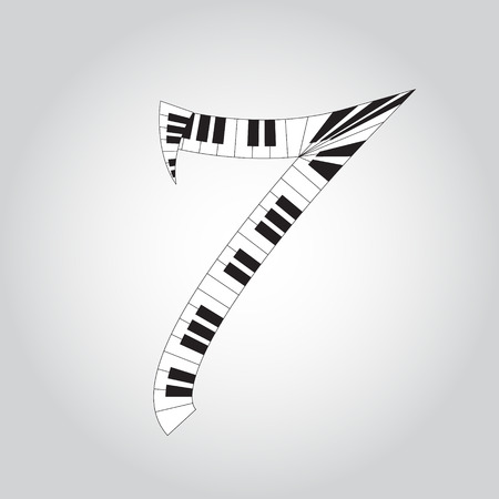 key words art: Abstract vector number four made from piano - numbers set