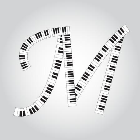 key words art: Abstract vector alphabet -  M  made from  piano - alphabet set
