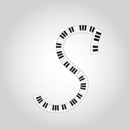 Abstract vector alphabet -  S made from  piano - alphabet set Illustration