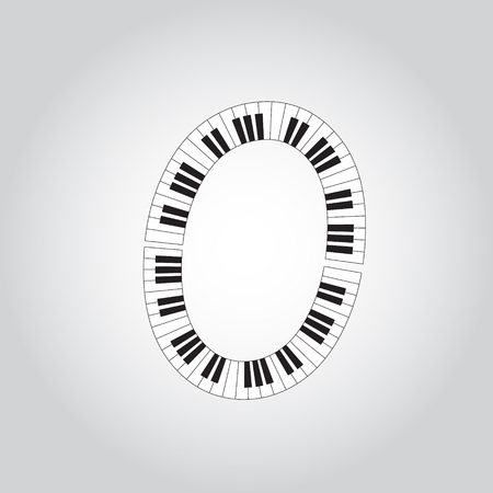 key words art: Abstract vector alphabet -  O  made from  piano - alphabet set