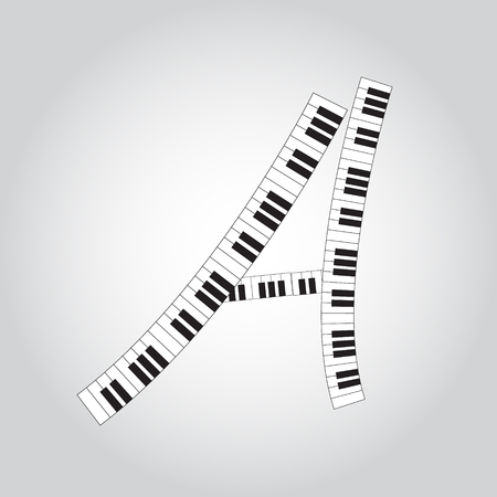 Abstract vector alphabet -  A  made from  piano - alphabet set