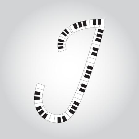 Abstract vector alphabet - J made from piano - alphabet set