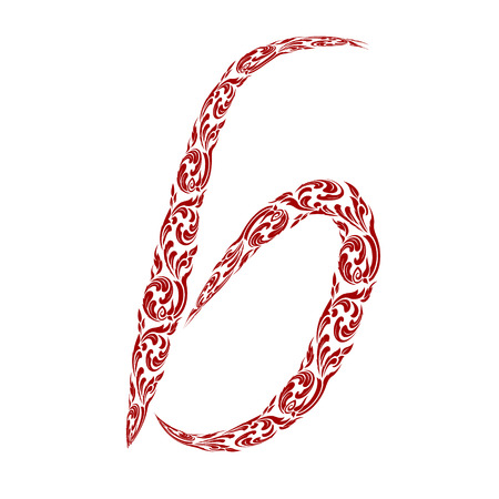 line thai: Abstract vector alphabet - b made from line thai art pattern - alphabet set Illustration