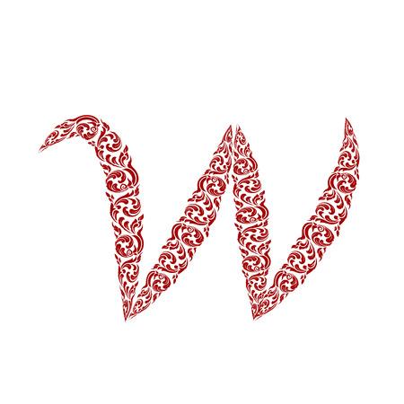 line thai: Abstract vector alphabet - w made from line thai art pattern - alphabet set