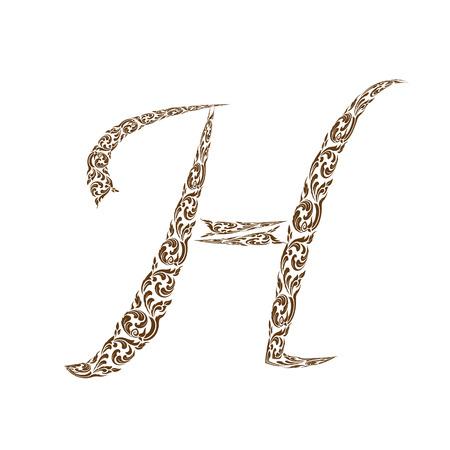 line thai: Abstract vector alphabet - H  made from line thai art pattern  - alphabet set Illustration