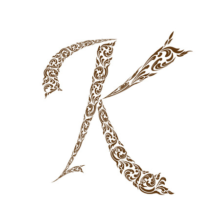 line thai: Abstract vector alphabet - K  made from line thai art pattern  - alphabet set