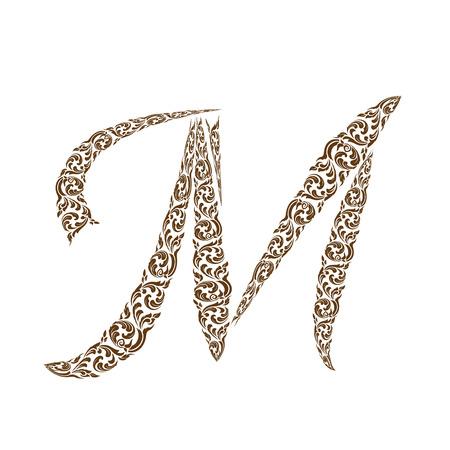 line thai: Abstract vector alphabet - M  made from line thai art pattern  - alphabet set