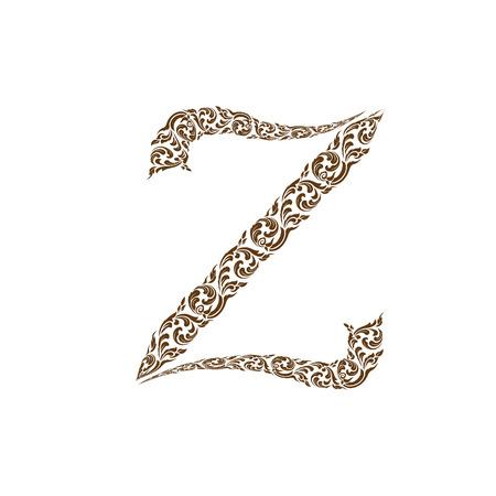 line thai: Abstract vector alphabet - Z  made from line thai art pattern  - alphabet set Illustration