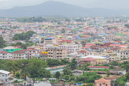 urbanscape: Looking from a high building to Burma Stock Photo