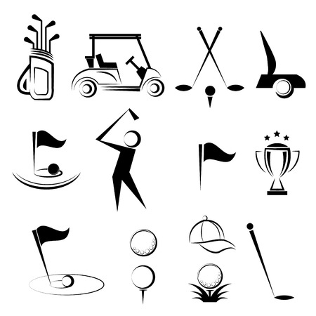 slashing: Golf vector icons set