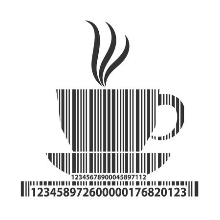 Kawa jako kod kreskowy, ilustracji wektorowych