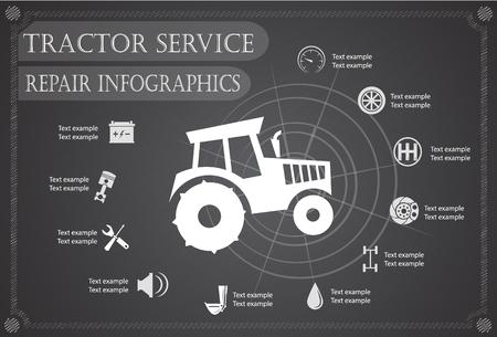 circuit brake: Tractor service, repair Infographics. vector illustration Illustration