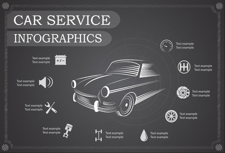 symbol icon: Car service, repair Infographics. Vector illustration Illustration