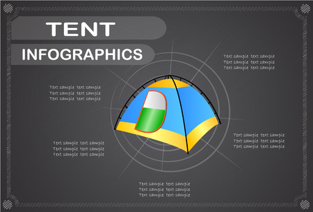 skyblue: Tent  infographics, Vector illustration.