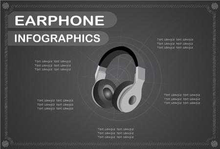 earphone: earphone  infographics, Vector illustration. Illustration
