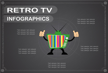 the outmoded: retro tv  infographics, Vector illustration.