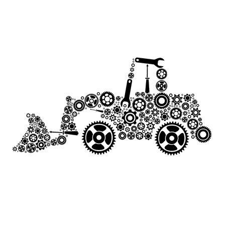 tractor. icon of tractor from gears. vector