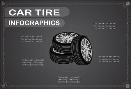 car tire: Car tire  infographics, Vector illustration.