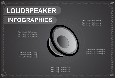 loudspeaker: loudspeaker infographics, Vector illustration.
