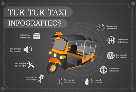 tuk: Tuk Tuk taxi car Thailand service, repair Infographics. Vector illustration Illustration