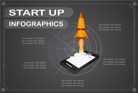 Start up business concept for mobile app development or other disruptive digital business ideas. Cartoon rocket launching from smart phone