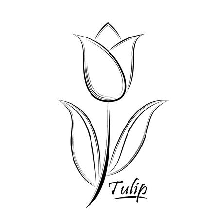 白い背景に分離されたチューリップの花の輪郭をベクトル黒