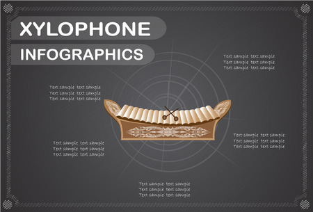 classical arts: Xylophone  infographics, Vector illustration.