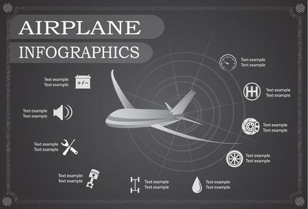 science symbols metaphors: Airplane infographics, Vector illustration.