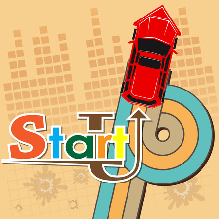 Startup new business project with car image development and launch a new innovation product on a market concept Flat design vector illustration