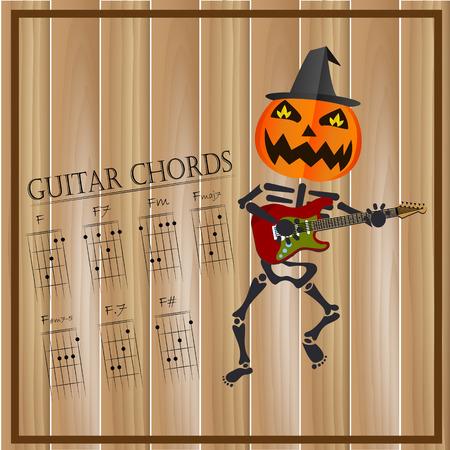 chords: Basic guitar chords ,Vector illustration