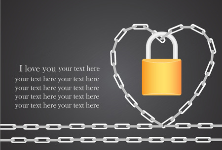 heart locked with chain. Vector illustration