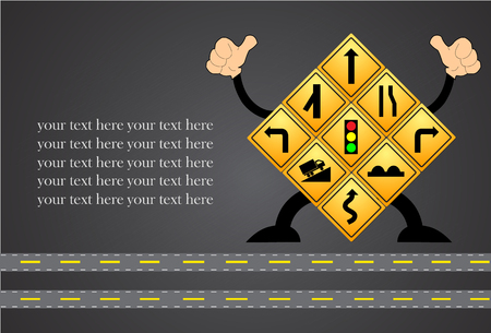 danger ahead: yellow road signs, traffic signs vector