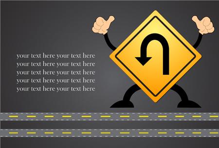 U-Turn Road Sign - Yellow road sign with turn symbol isolated on blackboard Illustration