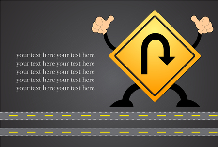 U-Turn Roadsign - Yellow road sign with turn symbol isolated on blackboard Illustration