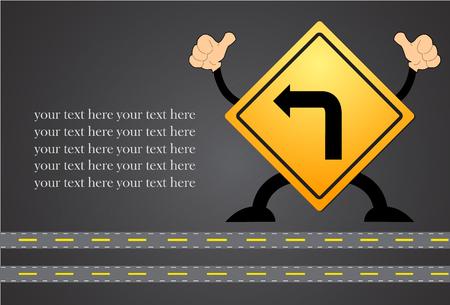 Turn left traffic sign on blackboard