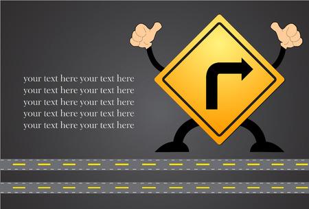 Turn right traffic sign on blackboard Illustration