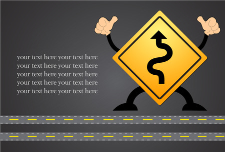 winding: Traffic sign vector with winding road