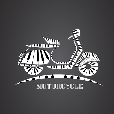 motorcycle made from piano Illustration