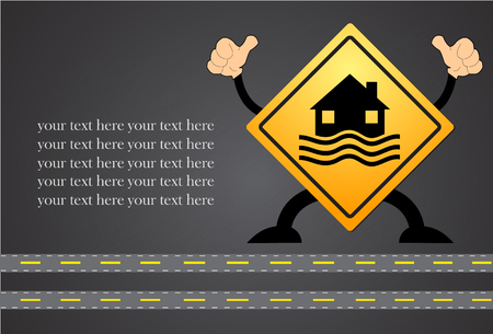 house flood: Flood Disaster Yellow Sign - House and waves on yellow sign