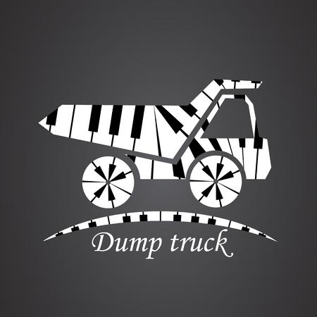 dump truck: Dump truck made from piano Illustration