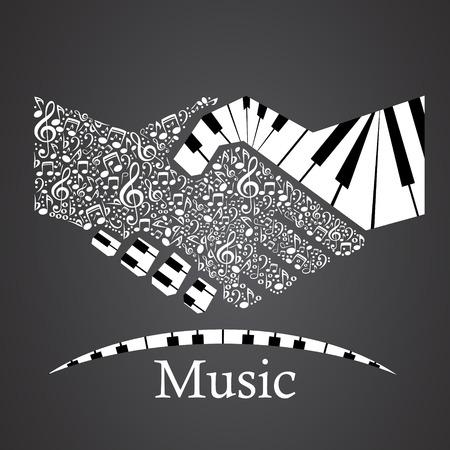 Apretón de manos hecho de piano Ilustración de vector