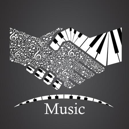 handshake  made from piano Illustration