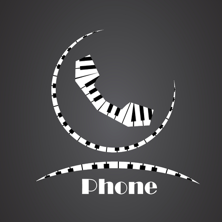 Phone Icon made from piano Illustration