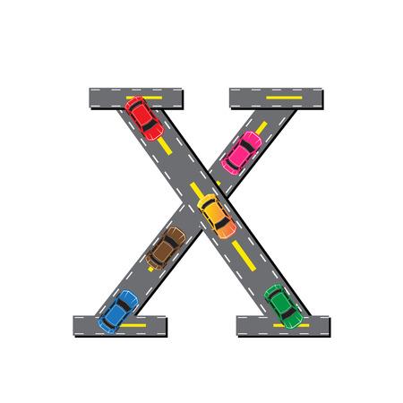 asphalt texture: Road Letter Alphabet Font