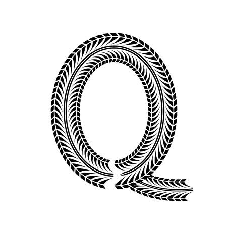 tire imprint: Black grunge alphabet in tire track forms. Illustration