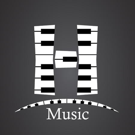 key words art: Abstract vector alphabet - H made from piano - alphabet set
