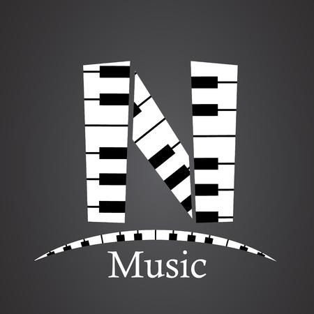 key words art: Abstract vector alphabet - N made from piano - alphabet set Illustration