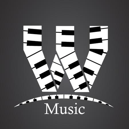 key words art: Abstract vector alphabet - W made from piano - alphabet set Illustration