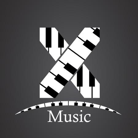 key words art: Abstract vector alphabet - X made from piano - alphabet set
